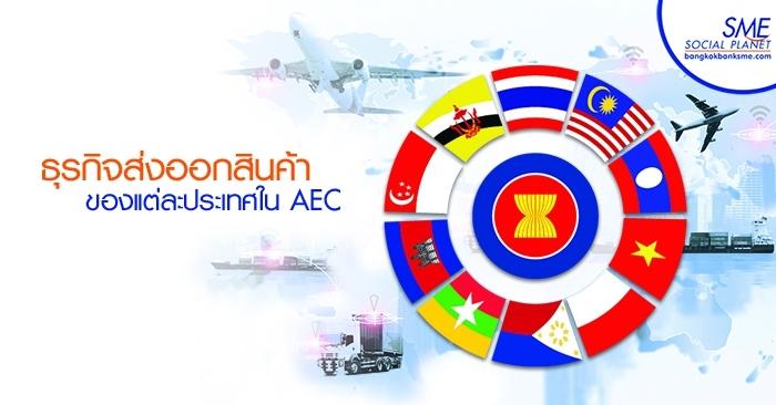 ธุรกิจส่งออกสินค้าของแต่ละประเทศใน AEC